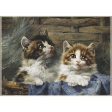 Gold Puzzle  500  - Two kittens in a basket